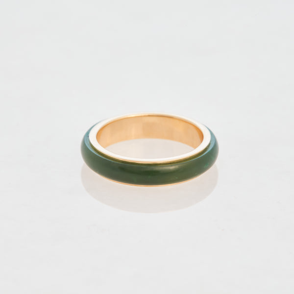 Emerald Jade Tubular Ring 18K Yellow Gold, Small