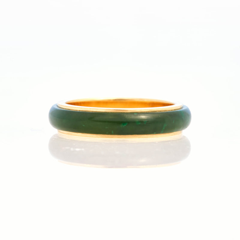 Nephrite Green Jade Tubular Ring 18K Yellow Gold, Small
