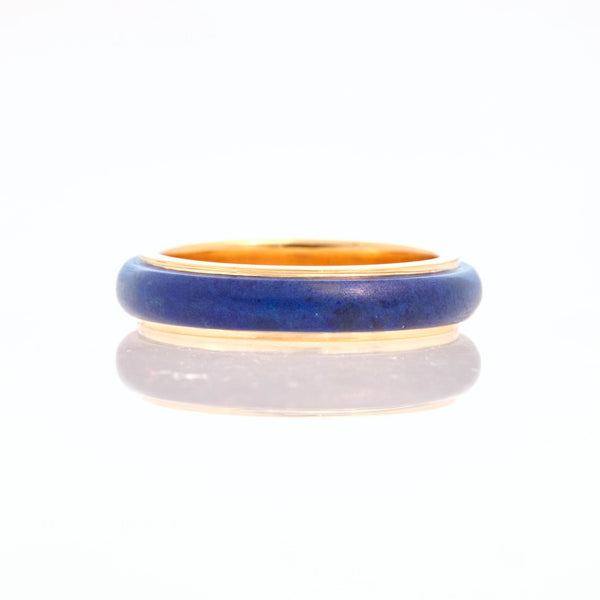 Lapis Lazuli Tubular Ring 18K Yellow Gold, Small