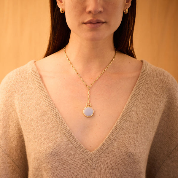 Reversible Circle Blue Chalcedony Photo Locket, 18k Yellow Gold & Column Lariat Necklace, 18k Yellow Gold, Small Link, 16""