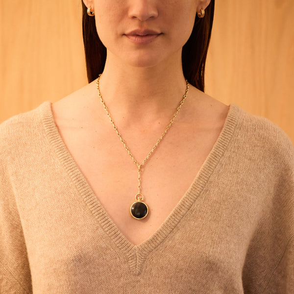 Reversible Circle Black Jade Photo Locket, 18k Yellow Gold & Column Lariat Necklace, 18k Yellow Gold, Small Link, 18""