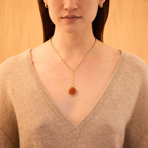 Reversible Circle Red Chalcedony Photo Locket, 18k Yellow Gold & Column Lariat Necklace, 18k Yellow Gold, Small Link, 16""