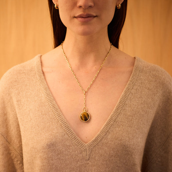 Reversible Circle Tiger Eye Photo Locket, 18k Yellow Gold & Column Lariat Necklace, 18k Yellow Gold, Small Link, 18""