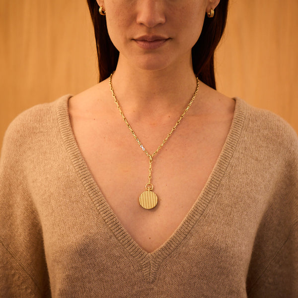 Circle Barre Photo Locket, 18k Yellow Gold & Column Lariat Necklace, 18k Yellow Gold, Small Link, 18""