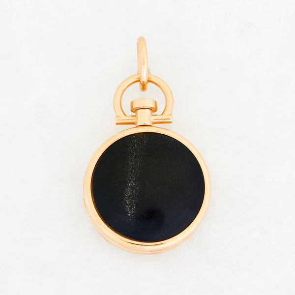 Reversible Circle Black Jade Photo Locket 18k Yellow Gold