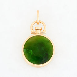 Reversible Circle Nephrite Jade Photo Locket 18k Yellow Gold