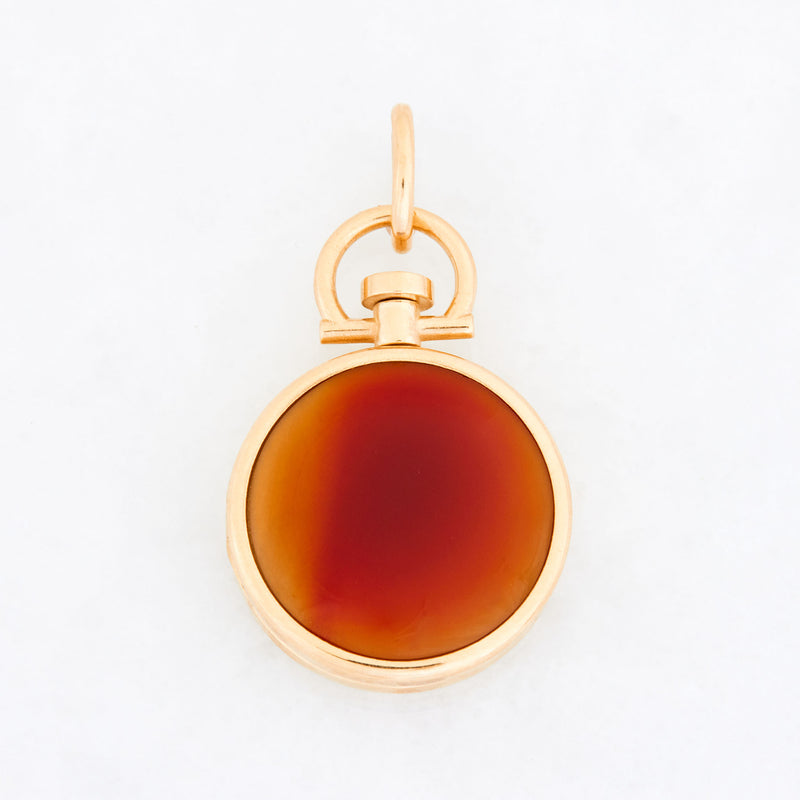 Reversible Circle Red Chalcedony Photo Locket 18k Yellow Gold