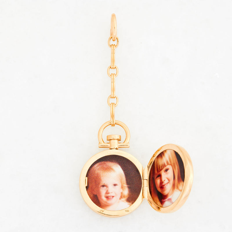 Reversible Circle White Cacholong Photo Locket, 18k Yellow Gold & Column Lariat Necklace, 18k Yellow Gold, Small Link, 18""