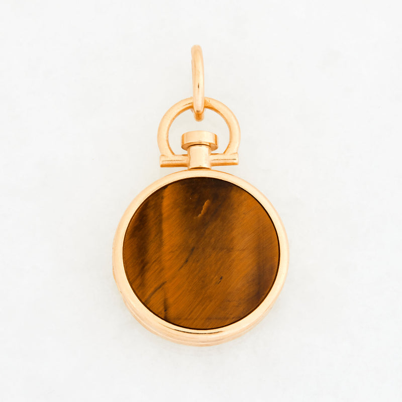 Reversible Circle Tiger Eye Photo Locket 18k Yellow Gold