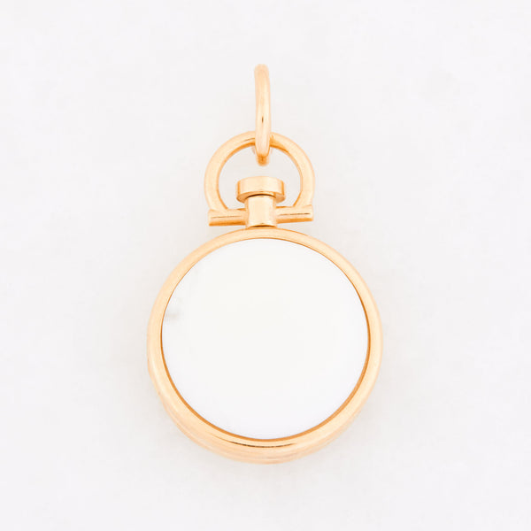 Reversible Circle White Cacholong Photo Locket 18k Yellow Gold