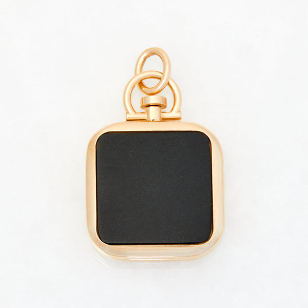 Reversible Square Black Jade Photo Locket 18k Yellow Gold
