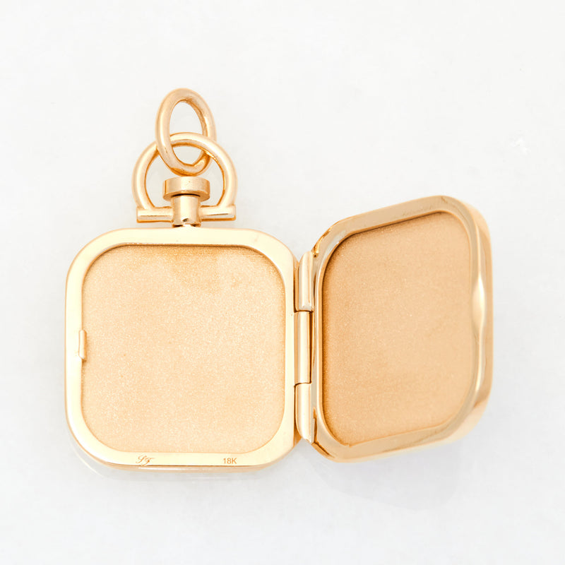 Reversible Square Red Chalcedony  Photo Locket 18k Yellow Gold