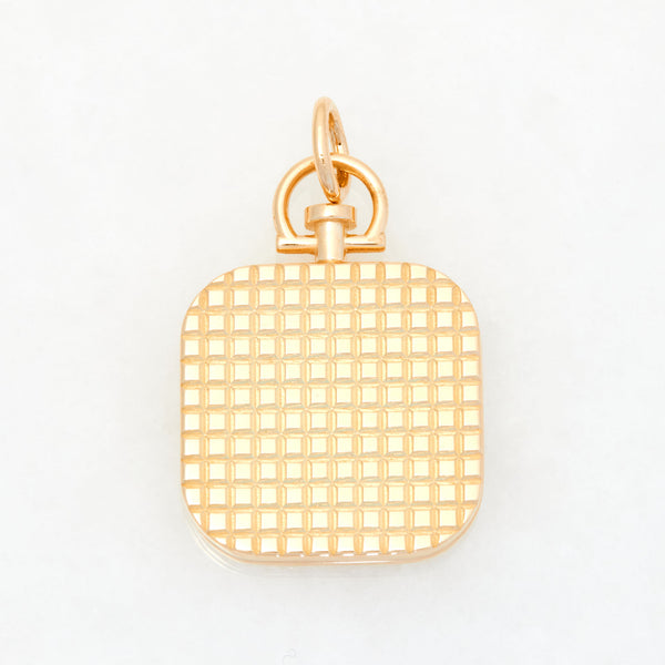 Pyramid Square Photo Locket 18k Yellow Gold