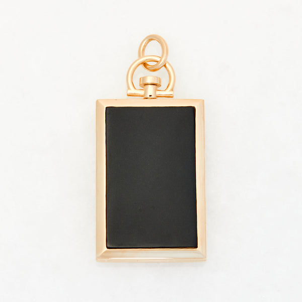 Reversible Rectangle Black Jade Photo Locket 18k Yellow Gold
