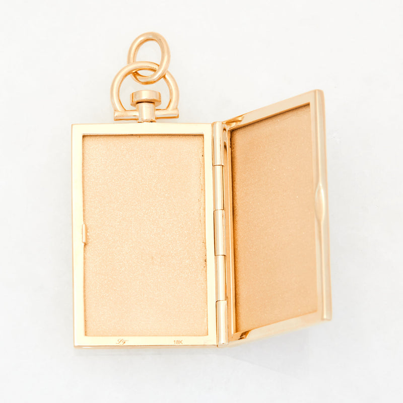 Reversible Rectangle White Cacholong Photo Locket 18k Yellow Gold