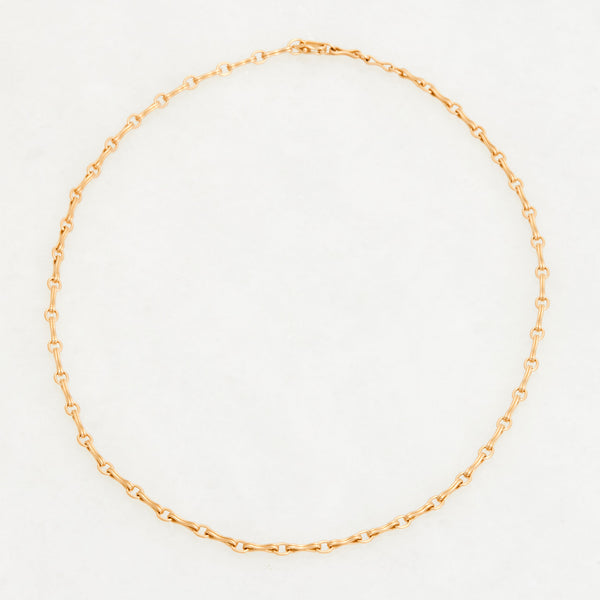Column Chain Necklace 18K Yellow Gold, Small Link, 16""