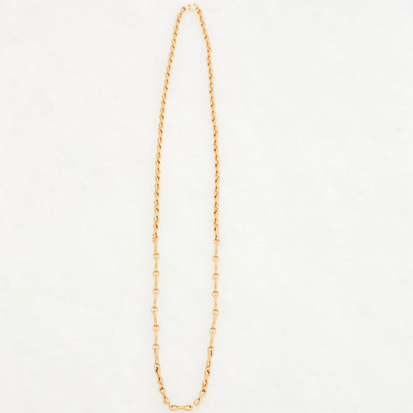 Column Chain Necklace 18K Yellow Gold, Medium Link, 34""