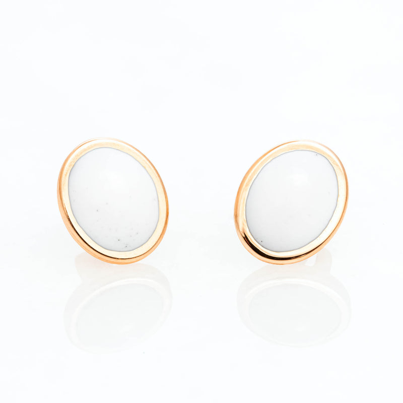 White Cacholong Oval Studs 18K Yellow Gold, Small