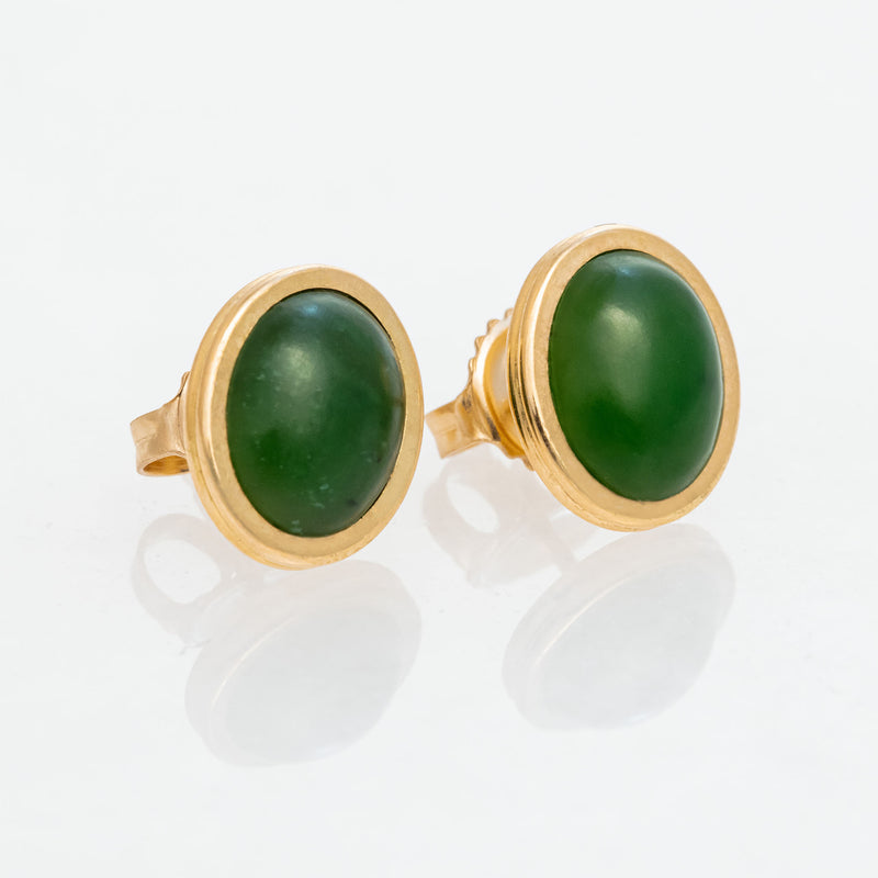 Nephrite Green Jade Oval Studs 18K Yellow Gold, Small