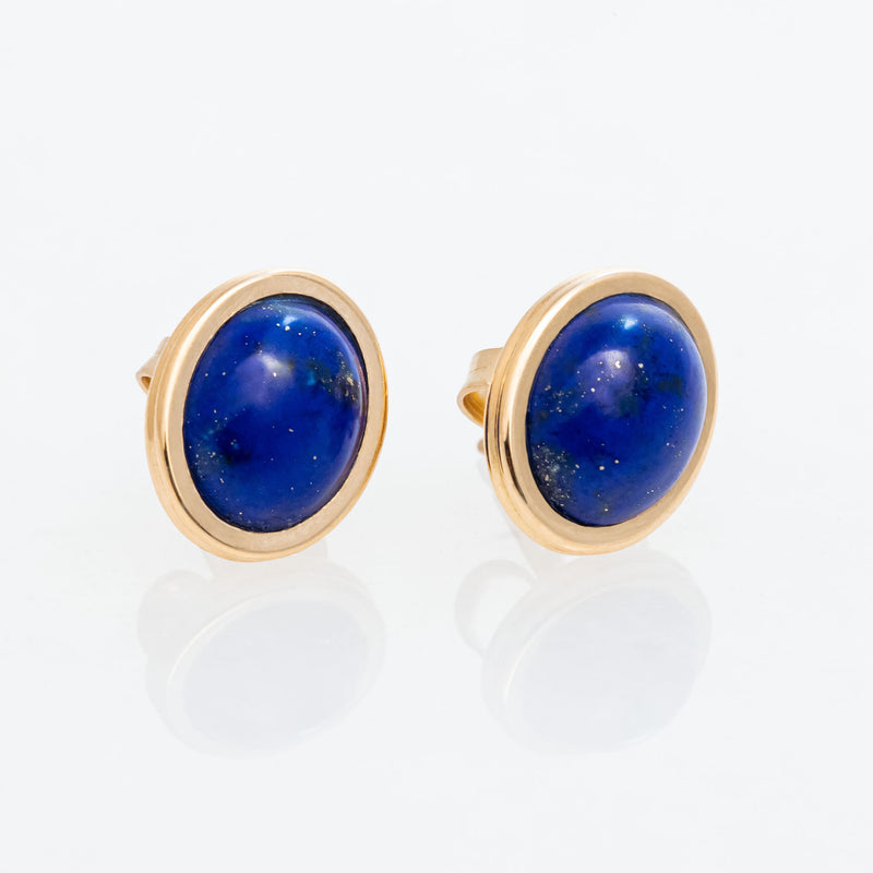 Lapis Oval Studs 18K Yellow Gold, Small