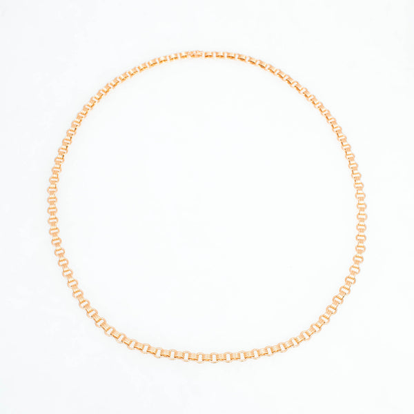 Triple Chain Necklace 18K Yellow Gold, Small Link, 25""