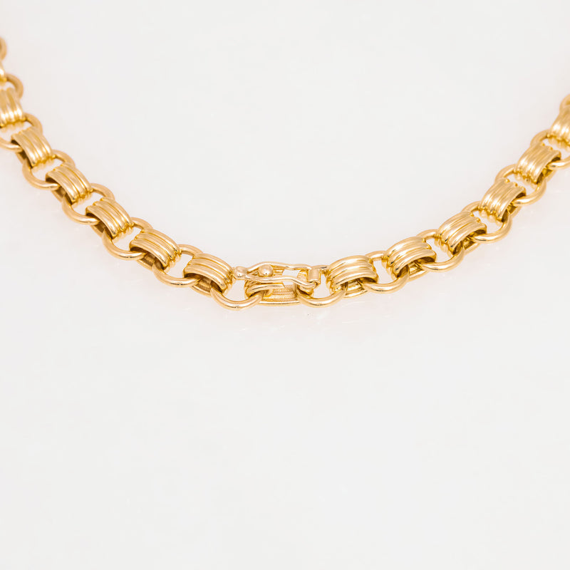 Triple Chain Necklace 18K Yellow Gold, Medium Link, 25""