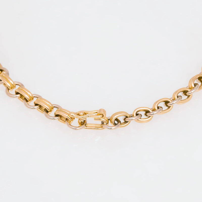 Double Chain Necklace 18K Yellow Gold, 18K  White Gold, Small Link, 22""