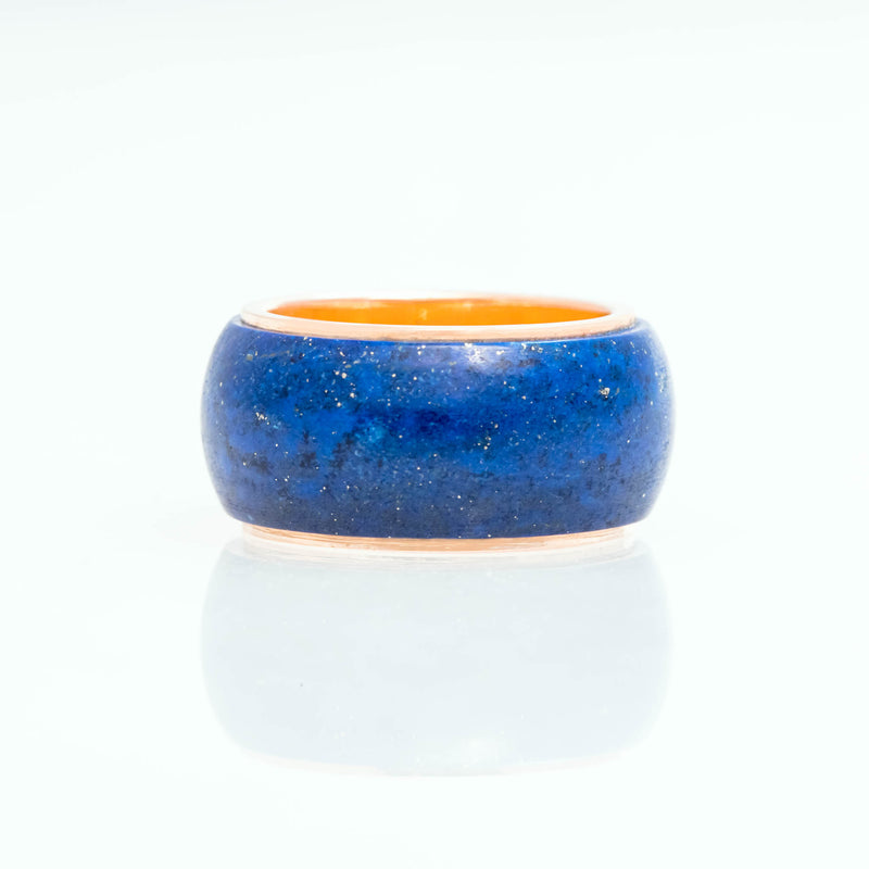 Lapis Lazuli Tubular Ring 18K Yellow Gold, Medium
