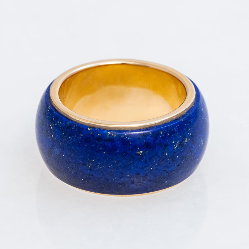 Lapis Tubular Ring 18K Yellow Gold, Medium