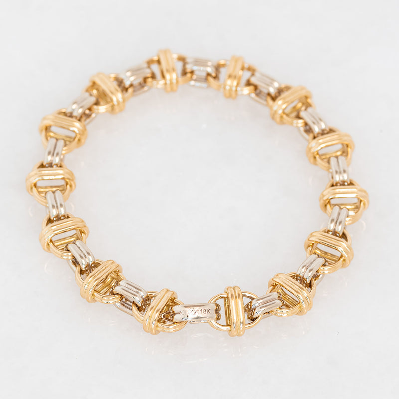 Oval Chain Bracelet 18K Yellow Gold and 18K White Gold, Medium Link, 7.25""