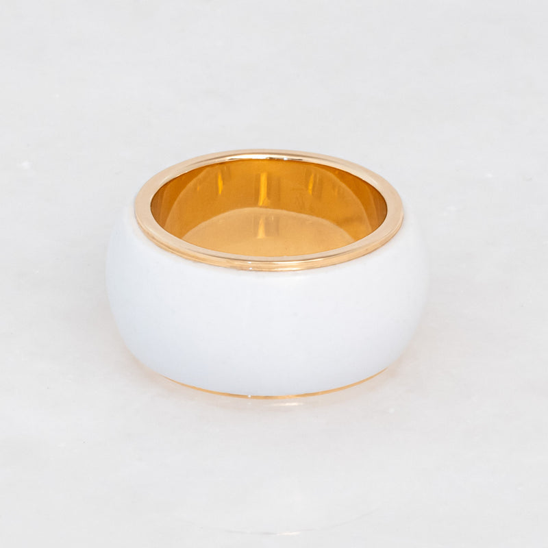 White Cacholong Tubular Ring 18K Yellow Gold, Medium