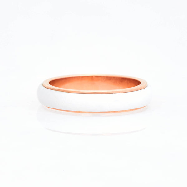 White Cacholong Tubular Ring 18K Rose Gold, Small