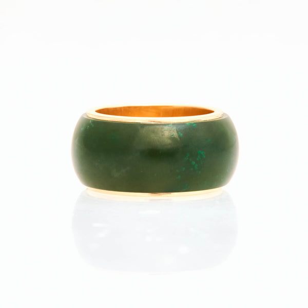 Nephrite Green Jade Tubular Ring 18K Yellow Gold, Medium