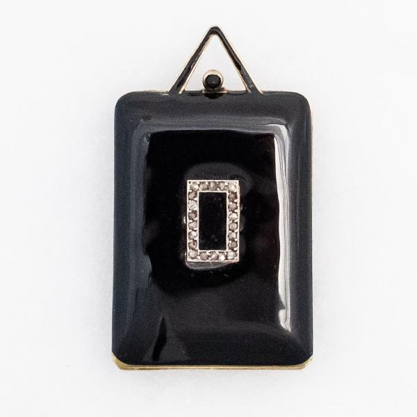 Black Enamel Diamond Victorian Locket Pendant, Vintage