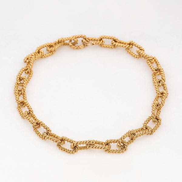 Twisted Chain Necklace 14K Yellow Gold, Vintage, 15""