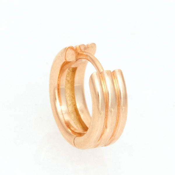 Triple Link Huggies, 18K Yellow Gold, Medium