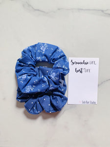 WEEKLY DUO Chambray Polka Dot Floral Scrunchie Duo
