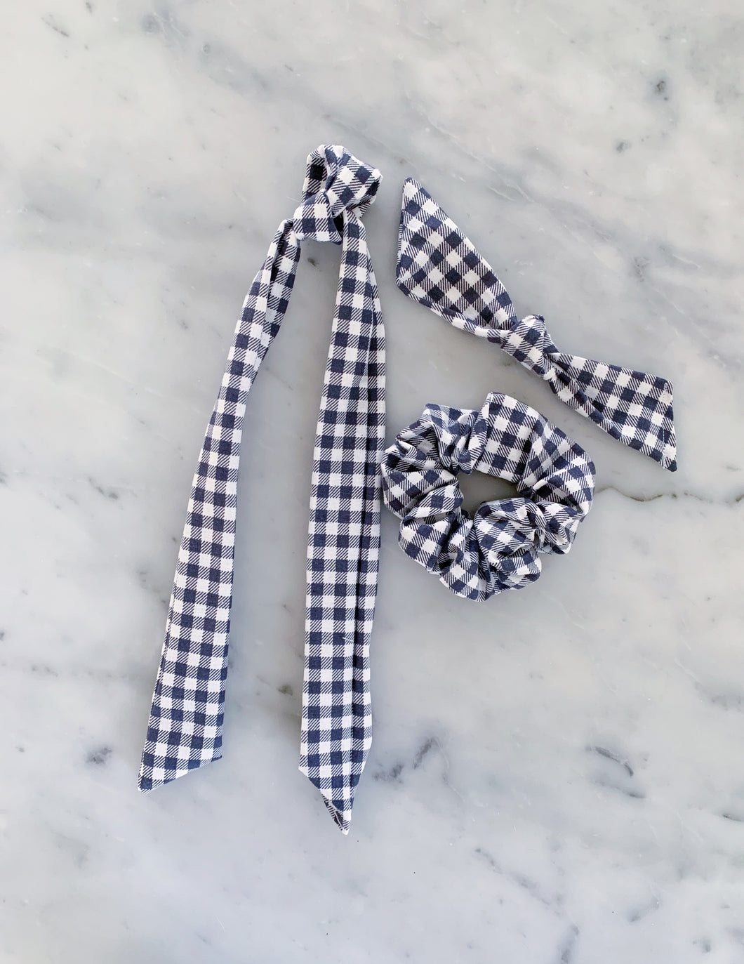Gray Gingham Scrunchie Ties
