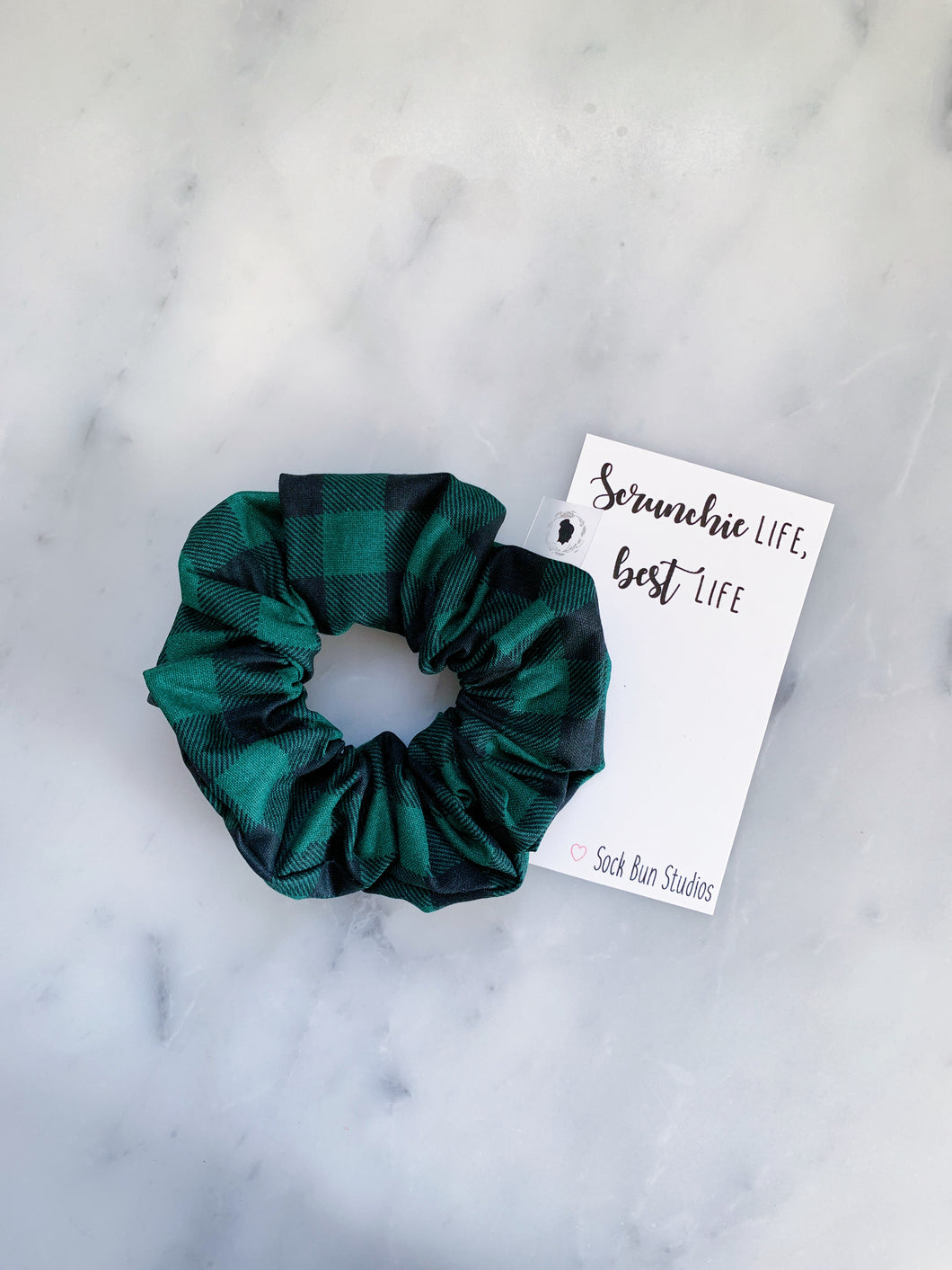 SALE Green and Black Buffalo Check Scrunchie