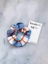 Load image into Gallery viewer, Blue and Orange Flannel Scrunchie