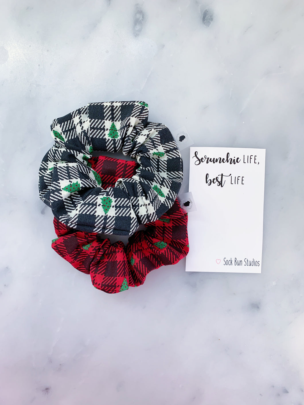 Buffalo Check Plaid Christmas Trees Scrunchie