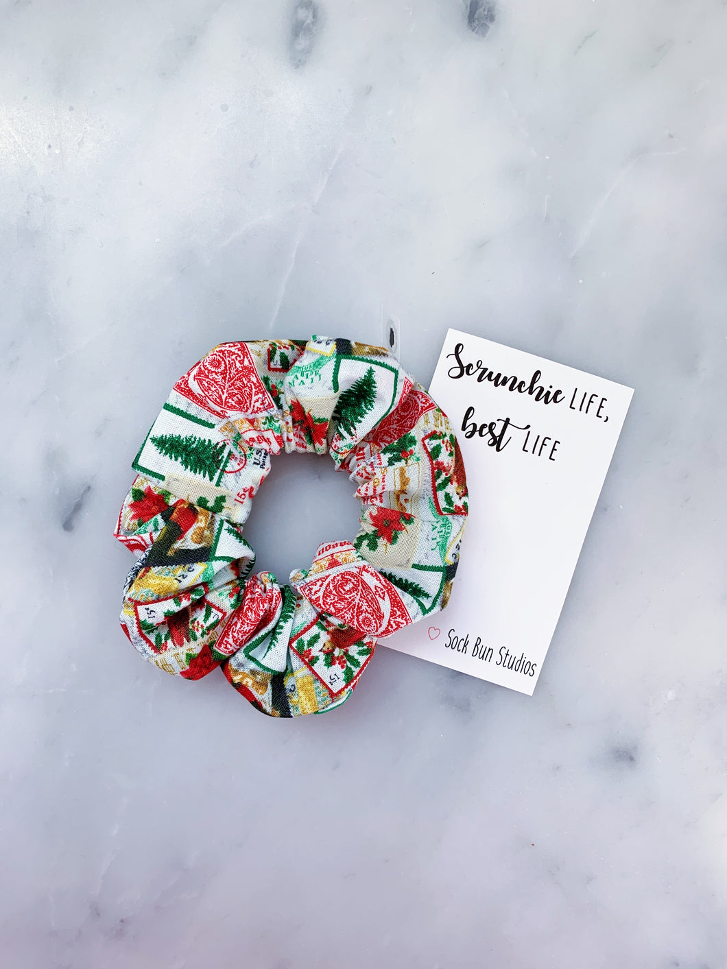 Vintage Christmas Stamps Scrunchie