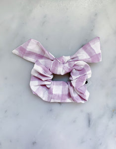 Lilac Watercolor Check Scrunchie Ties