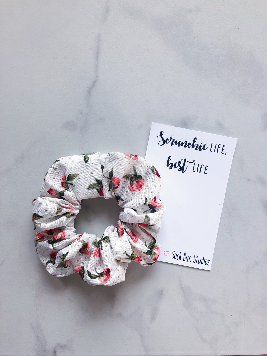 Vintage Polka Dot Rose Bud Scrunchie