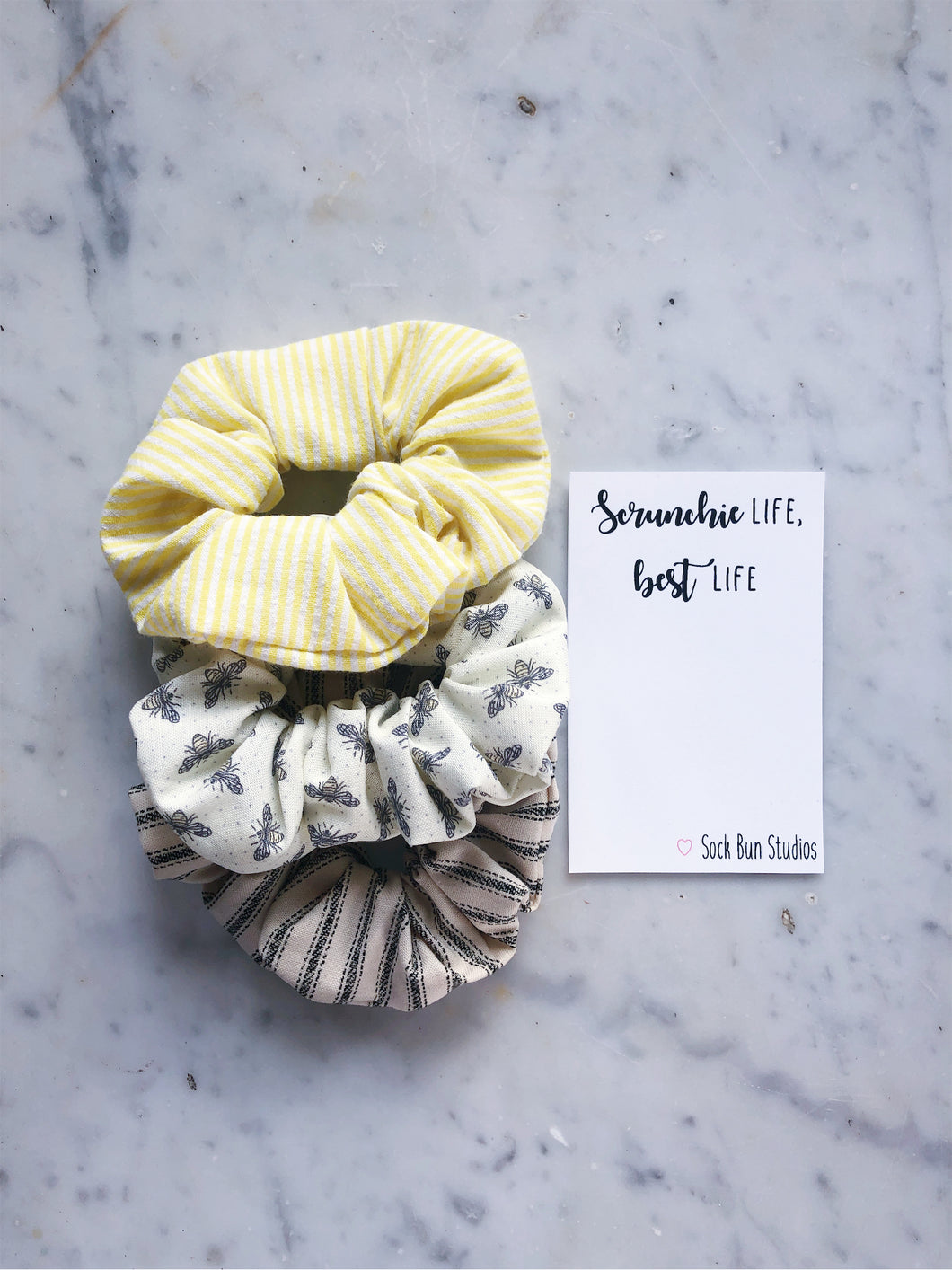 Dainty Bumble Bee Scrunchie Pack