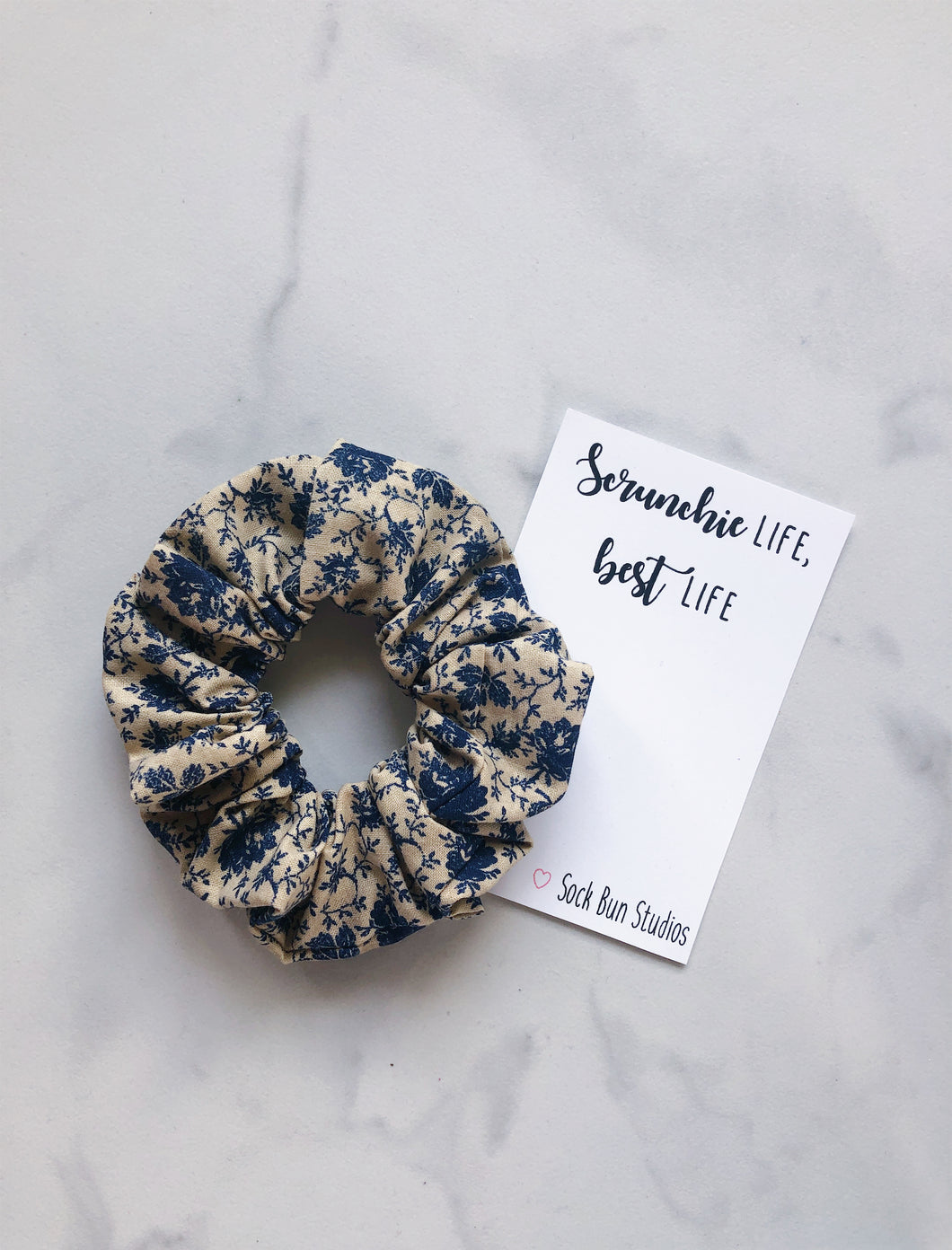 Country Blue Floral Scrunchie