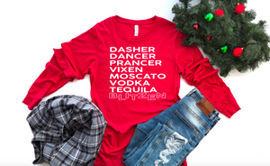 NEW Reindeer Names Long Sleeve Shirt