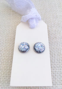 Silver Holographic Glitter 12mm Stud Earrings