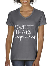 Load image into Gallery viewer, Sweet Tea and Cupcakes Crewneck Tee Shirt