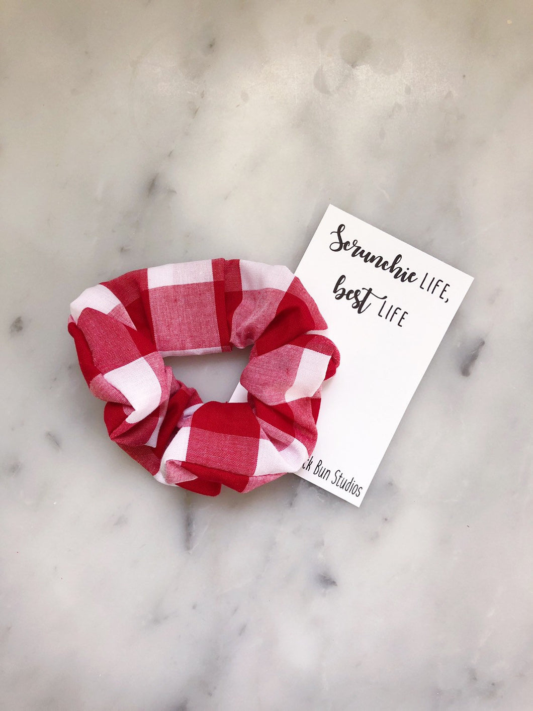 White and Red Buffalo Check Scrunchie